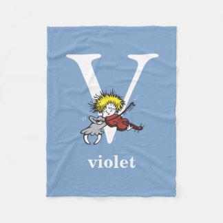 Dr. Seuss's ABC: Letter V - White | Add Your Name Fleece Blanket