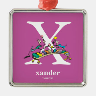 Dr. Seuss's ABC: Letter X - White | Add Your Name Silver-Colored Square Decoration