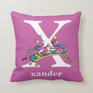 Dr. Seuss's ABC: Letter X - White   Add Your Name Throw Pillow