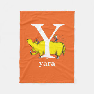Dr. Seuss's ABC: Letter Y - White | Add Your Name Fleece Blanket