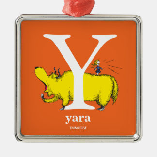 Dr. Seuss's ABC: Letter Y - White | Add Your Name Silver-Colored Square Decoration