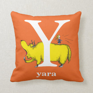 Dr. Seuss's ABC: Letter Y - White   Add Your Name Throw Pillow