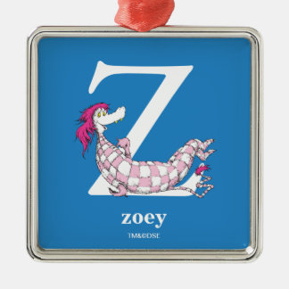 Dr. Seuss's ABC: Letter Z - White | Add Your Name Silver-Colored Square Decoration