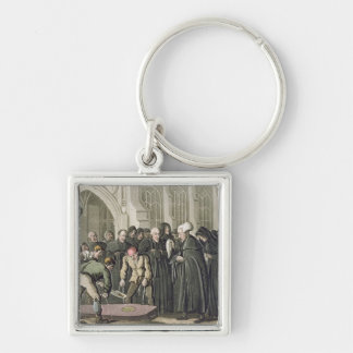 Dr Syntax at the Funeral of his Wife, from 'The To Silver-Colored Square Key Ring