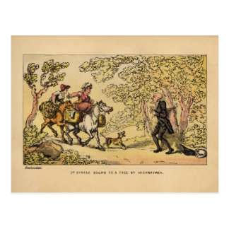 Dr Syntax bound to a tree by highwaymen Postcard