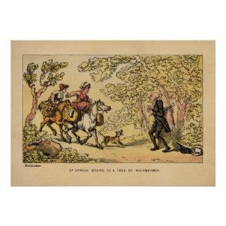 Dr Syntax bound to a tree by highwaymen Poster