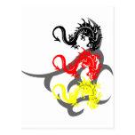 Drachen 4 farbig mit Tribal Postkarte