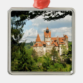 Dracula Castle in Transylvania, Romania Silver-Colored Square Decoration
