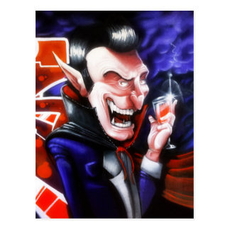 Dracula drinks blood postcard