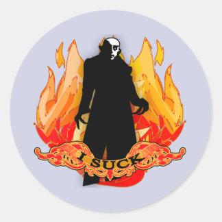 Dracula Nosferatu I SUCK with Flames Round Sticker