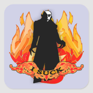 Dracula Nosferatu I SUCK with Flames Square Sticker