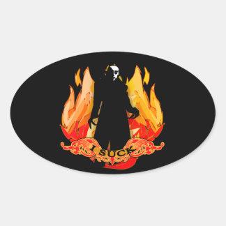 Dracula Nosferatu I SUCK with Flames Oval Sticker