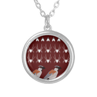 Dracula print silver plated necklace