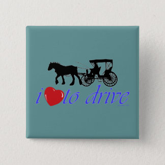 Draft Horse I Love To Drive 15 Cm Square Badge