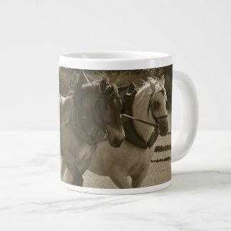 Draft horses plowing team 20 oz large ceramic coffee mug