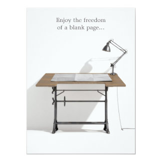 Drafting Desk Lamp & Blank Paper Card