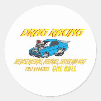 DRAG CAR BALLS ROUND STICKERS