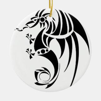 Dragissous V1 - black dragon Round Ceramic Decoration