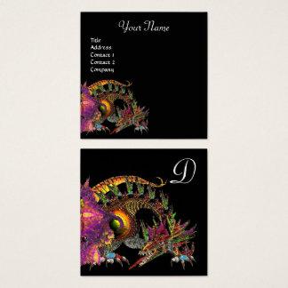 DRAGO / Fantasy Dragon Monogram Black Purple Square Business Card