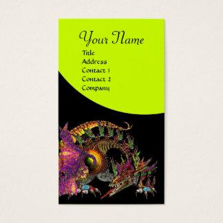 DRAGO Fantasy Dragon Monogram black purple yellow Business Card
