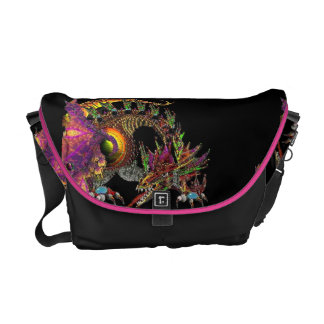 DRAGO,FANTASY GOLD DRAGON IN PINK PURPLE AND BLACK COURIER BAGS