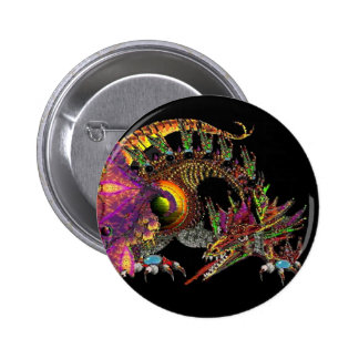DRAGO / FANTASY GOLD DRAGON IN PURPLE AND BLACK 6 CM ROUND BADGE