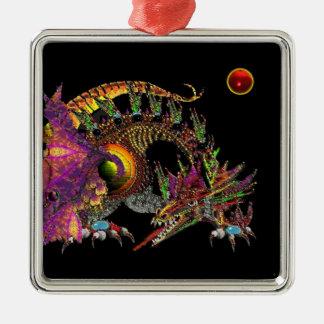 DRAGO / FANTASY GOLD DRAGON IN PURPLE AND BLACK SQUARE METAL CHRISTMAS ORNAMENT