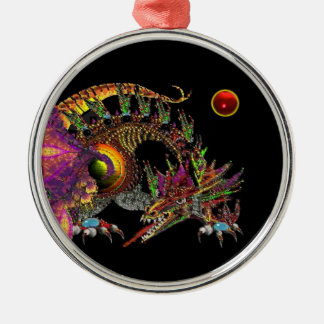 DRAGO / FANTASY GOLD DRAGON IN PURPLE AND BLACK Silver-Colored ROUND DECORATION