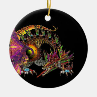 DRAGO,FANTASY GOLD DRAGON IN PURPLE BLACK,Red Ruby Double-Sided Ceramic Round Christmas Ornament