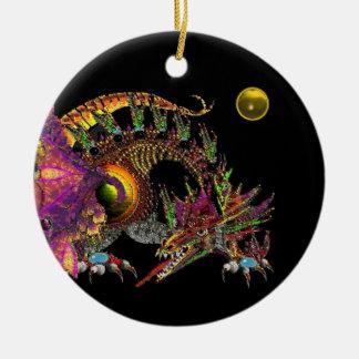 DRAGO Yellow Topaz Monogram Double-Sided Ceramic Round Christmas Ornament