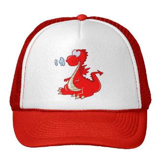 dragon302  RED CARTOON DRAGON CUTE HAPPY KIDS GRAP Mesh Hat
