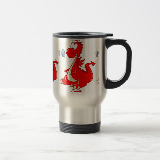 dragon302  RED CARTOON DRAGON CUTE HAPPY KIDS GRAP Coffee Mugs