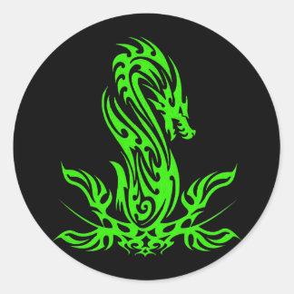 Dragon 19 green oil round sticker