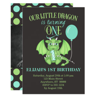 Dragon 1st Birthday Invitation w/ optional photo