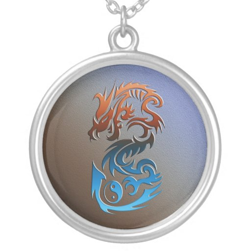 Dragon 2 Yin Yang blue bronze Pendant