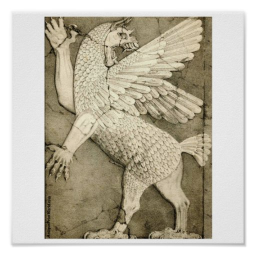 Dragon Ancient Assyrian Winged Figure Posters
