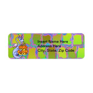 Dragon and Birthday Cake Return Address Label