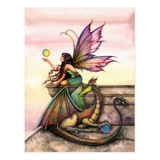 Dragon and Fairy Art Postcard by Molly Harrison