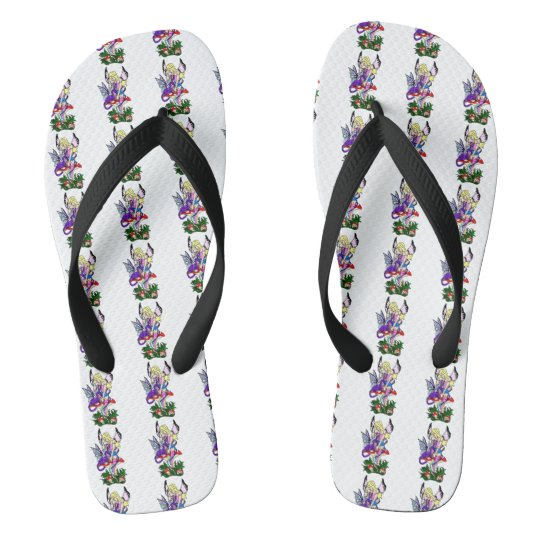 dragon and fairy on mushroom flip flops