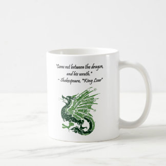 Dragon and His Wrath Shakespeare King Lear Cartoon Basic White Mug