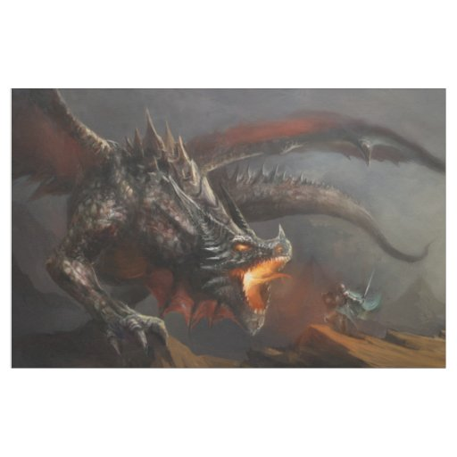 Dragon and Knight Tapestry Fabric