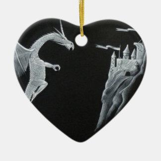 Dragon and Mountain Castle Ceramic Heart Decoration