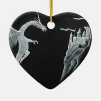 Dragon and Mountain Castle Christmas Ornament