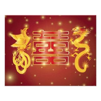 Dragon and Phoenix Double Happiness Invitation