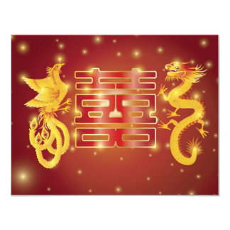 Dragon and Phoenix Double Happiness Invitation