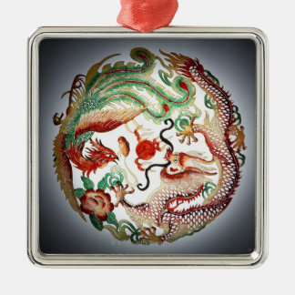 Dragon and phoenix stencil christmas ornament