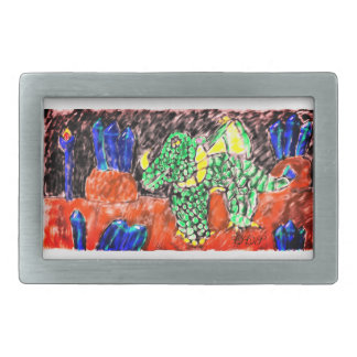 Dragon and Sapphire two Rectangular Belt Buckle