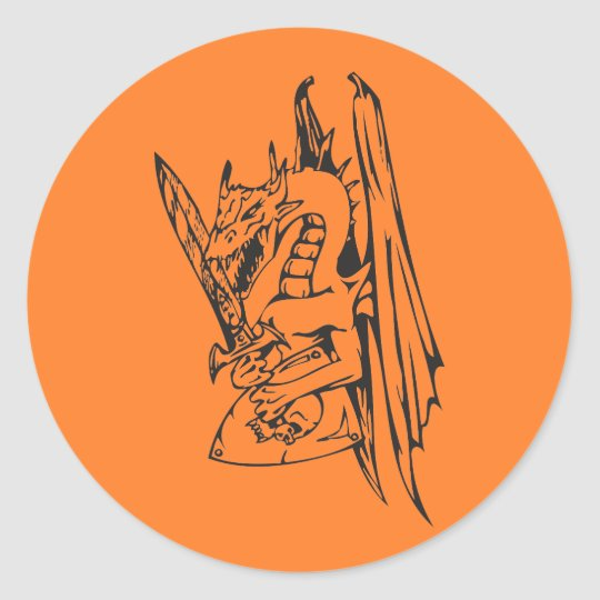 Dragon and Sword Classic Round Sticker