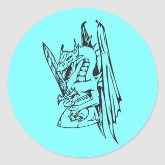 Dragon and Sword Round Sticker