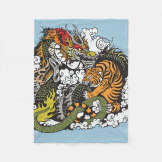 dragon and tiger fighting fleece blanket